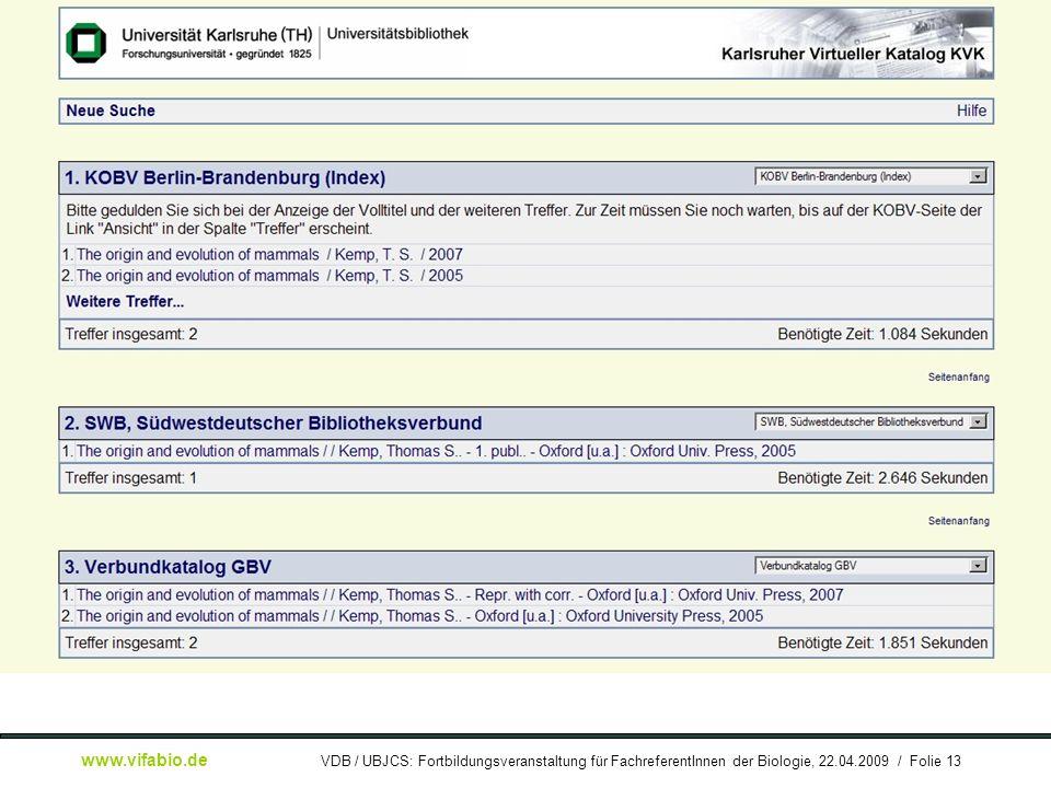 [ Bildschirmfoto: ] KVK-Recherchebeispiel